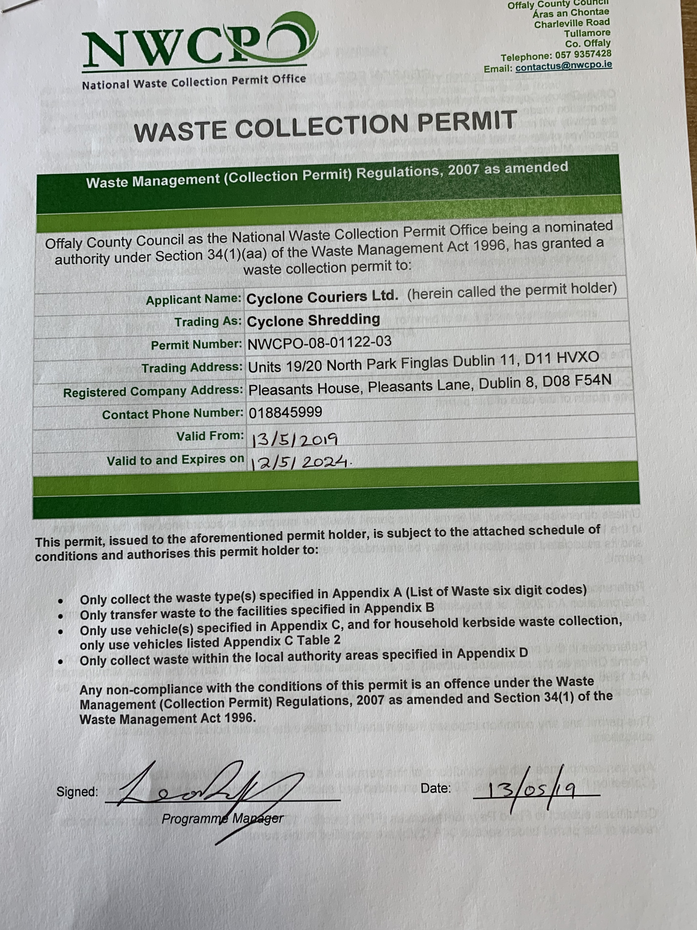 National Waste Collection Permit Office