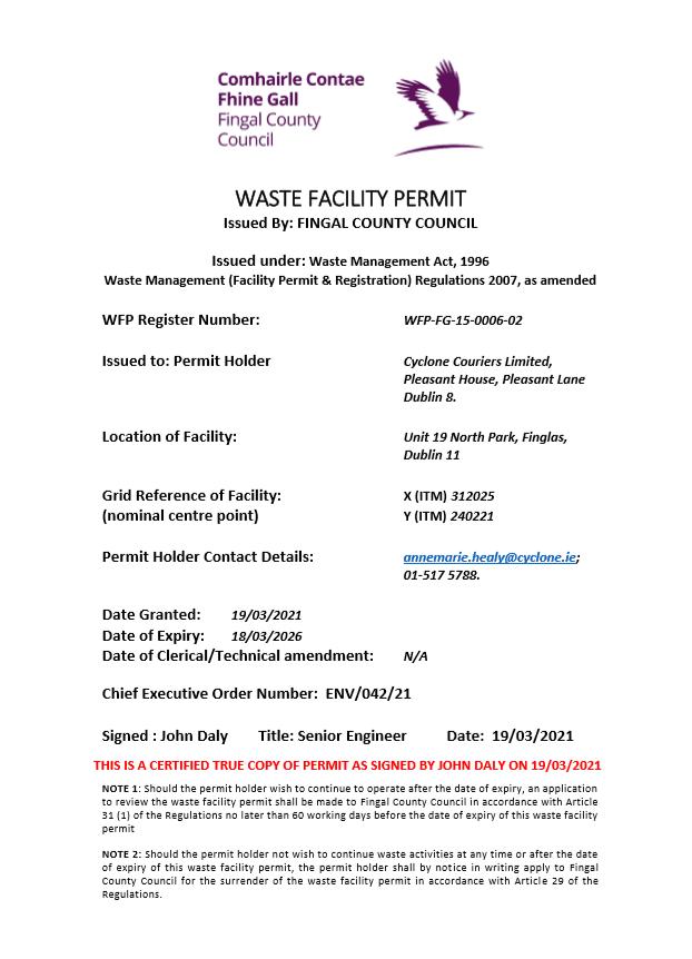 Facility Permit